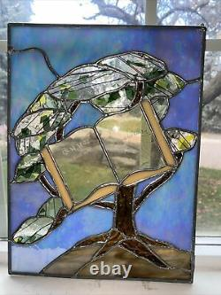 10 W X 13 1/2 T Handcrafted stained glass window panel Tree of Life With Scripture