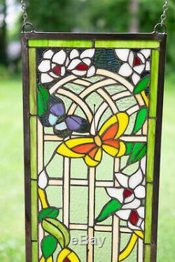 10 x 36 Handcrafted stained glass window panel Butterfly Garden Flower