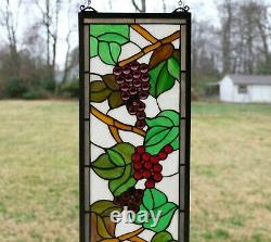 10 x 36 Handcrafted stained glass window panel flower Grape with Vine