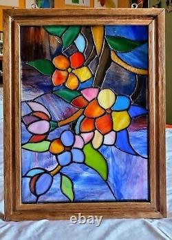 14.5 x 18.5 Large Handcrafted stained glass panel with solid wood frame