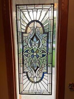 14 x 36 Stunning Handcrafted Stained glass Beveled window panel