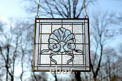 16.75 x 16.5 Handcrafted All Clear stained glass Beveled window panel