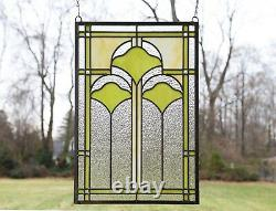 16 x 24 Handcrafted Ginkgo style stained glass window panel