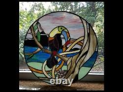 18 Round Costa Rican Toucan Bird Stained Glass Panel