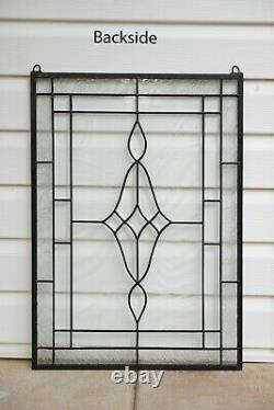 19 x 27 Stunning Handcrafted All Clear stained glass Beveled window panel