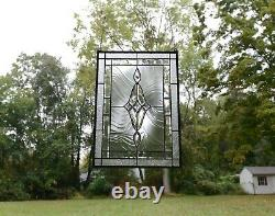 19 x 27 Stunning Handcrafted stained glass Clear Beveled window panel