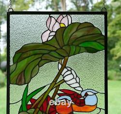 2 Mandarin Ducks Birds Lotus Handcrafted Stained Glass Window Panel, 16 x 32