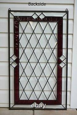 20.25 x 34.25 Stunning Handcrafted stained glass Clear Beveled window panel