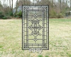 20.25 x 34 Stunning Handcrafted All Clear stained glass Beveled window panel