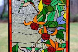 20.25W x 34H Handcrafted Jeweled stained glass window panel