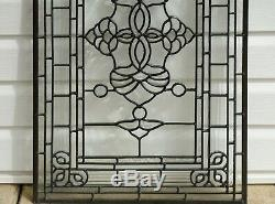 20.5 x 34.25 Stunning Handcrafted All Clear stained glass Beveled window panel