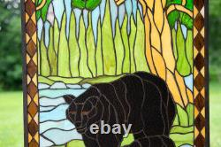 20.5 x 34.5 Bear Mother and Son Handcrafted stained glass window panel