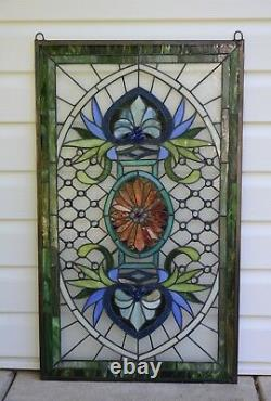 20.5 x 34.5 Decorative Jeweled Handcrafted stained glass panel