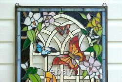 20.5 x 34.5 Handcrafted stained glass window panel Butterfly Flower Garden WL