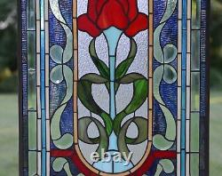 20.5 x 34.5 Handcrafted stained glass window panel one big Rose Flower