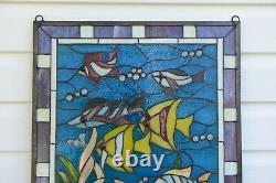 20.5 x 34.75 Fish under the Sea Handcrafted stained glass window panel
