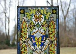 20.5 x 34.75 Handcrafted stained glass window panel Butterfly Flower