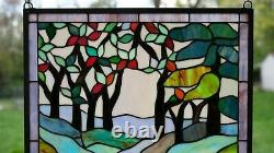 20.5 x 34.75 Handcrafted stained glass window panel Deer Drinking Water