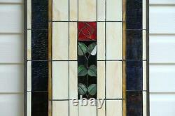 20.5 x 34.75 Large Handcrafted stained glass window panel Rose Flower