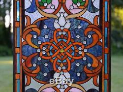 20.5W x 34.5H Handcrafted Jeweled stained glass window panel