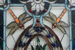 20.5W x 34.75H Handcrafted Jeweled stained glass window panel