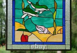 20.5x34.7 Dolphin Boat Seashore Beach Handcrafted stained glass window panel