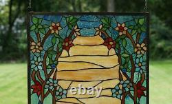 20.75 x 34.50 Handcrafted stained glass window panel Desert Dawn