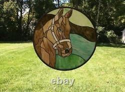20 Round Horse Head Handcrafted Stained Glass Suncatcher Panel