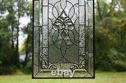 20 x 33.75 Stunning Handcrafted All Clear stained glass Beveled window panel