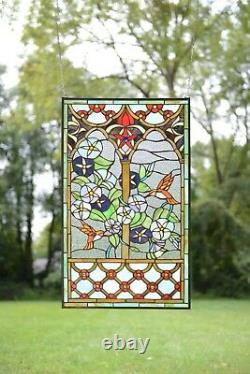 20 x 34 Decorative Handcrafted stained glass window panel hummingbird flower