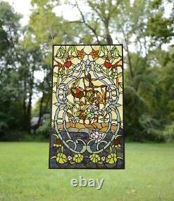 20 x 34 Decorative Handcrafted stained glass window panel water lily Lotus
