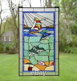 20 x 34 Dolphin Boat Seashore Beach Handcrafted stained glass window panel