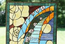 20 x 34 Flowers Handcrafted stained glass window panel