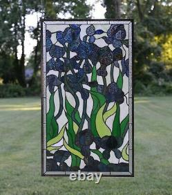 20 x 34 Handcrafted Decorative Handcrafted stained glass window panel Iris
