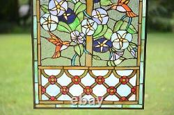 20 x 34 Handcrafted Handcrafted stained glass window panel Hummingbird Garden