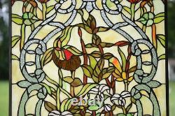 20 x 34 Handcrafted Handcrafted stained glass window panel water lily Lotus