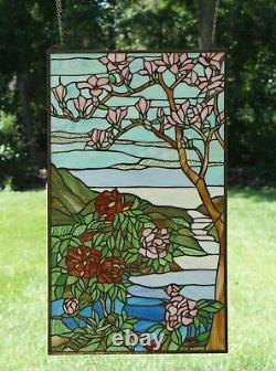 20 x 34 Handcrafted stained glass Jeweled window panel Cherry Blossom