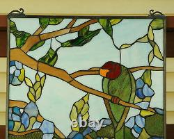 20 x 34 Handcrafted stained glass window panel 2 parrots