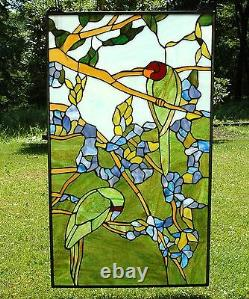20 x 34 Handcrafted stained glass window panel 2 parrots birds on the tree
