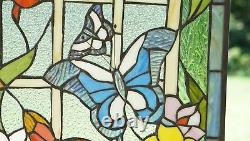 20 x 34 Handcrafted stained glass window panel Butterfly Garden Flower