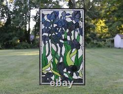 20 x 34 Large Handcrafted Handcrafted stained glass window panel Iris flower