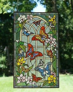 20 x 34 Large Handcrafted stained glass window panel Butterfly Garden Flower