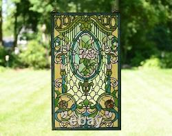 20 x 34 Large Handcrafted stained glass window panel Flowers