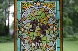 20 x 34 Large Handcrafted stained glass window panel Grape With Vine