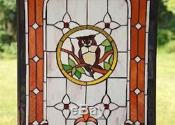 20 x 34 Large Handcrafted stained glass window panel owl