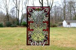 20 x 34 Stunning Jeweled Handcrafted stained glass panel