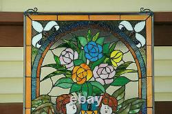 20 x 34 two baby angel Handcrafted stained glass Jeweled window panel