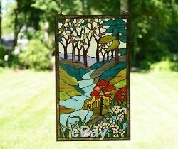20 x 34Large Handcrafted stained glass window panel Deer Drinking Water, TMI446