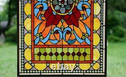 20W x 34H Handcrafted Jeweled stained glass window panel