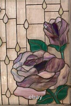 21.5x15.5 Handcrafted Stained Glass Window Panel big Rose Rain Drops